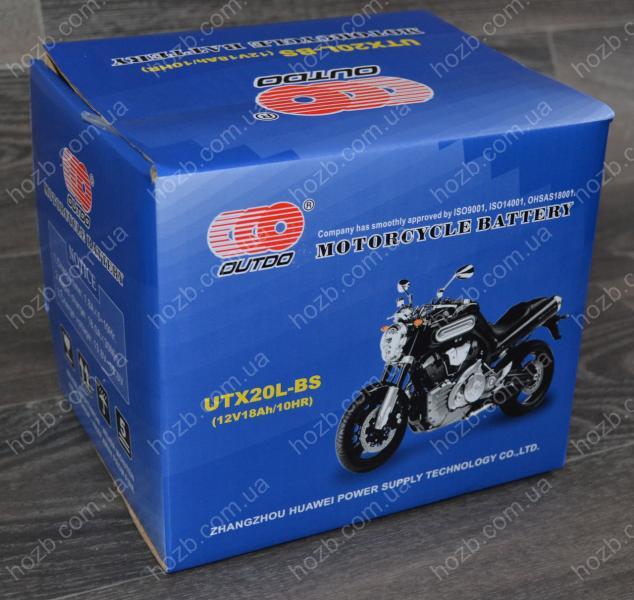 Аккумулятор 12V 18Аh кислотный (170x85x150), черный, mod:UTX 20L-BS) (+электролит) OUTDO