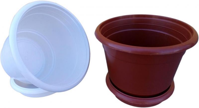 Горшок для цветов Ø 250 мм с подставкой 5,5 литра белый (Юнипласт, Харьков) коричневый