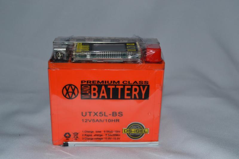 Аккумулятор 12V 5Ah гелевый с цифровым вольтметром (113х70х107) UTX5L-BS (оранжевый) BATTERY