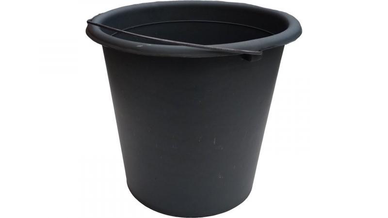 """Ведро пластиковое 10 литров черное с металлической ручкой """"ХАРПЛАСТМАСС"""""""