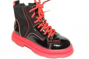 Фото Демисезонная обувь, Демисезонная обувь девочки до 38 Ботинки 19-8А красный
