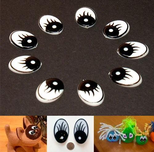 Фото Серединки ,кабашоны, Кабашоны детские мультики Пластиковые  глазки   10 * 15 мм.   парами.