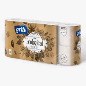 Фото Хозяйственные товары (ЦЕНЫ БЕЗ НДС), Бумага туалетная Бумага туалетная GRITE Ecological 14,85 м. (4, 8 в/уп) Цены см. подробнее