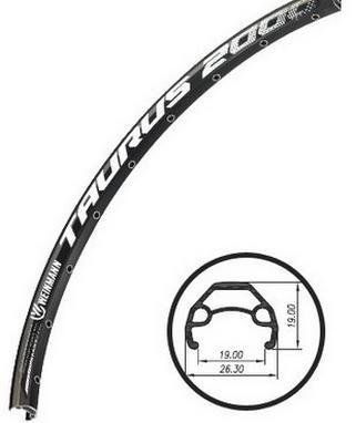 Обід 26 Wеinmann Taurus 2000 чорний, подвійний, пістонір., Алюм., 36 сп. (H-19 / 26,3 / 19 mm)