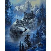 Фото Картины на холсте по номерам, Животные. Птицы. Рыбы... VP 1130 Волк и волчица Роспись по номерам на холсте 40х50см