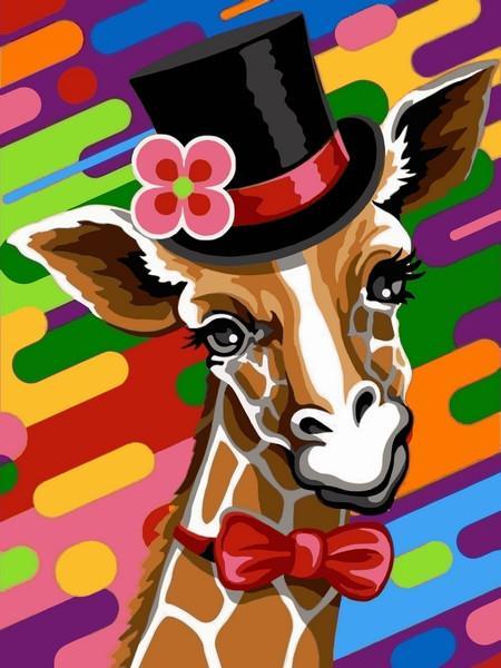 Фото Картины на холсте по номерам, Животные. Птицы. Рыбы... VK 245 Жираф в шляпе Картина по номерам на холсте 40x30см