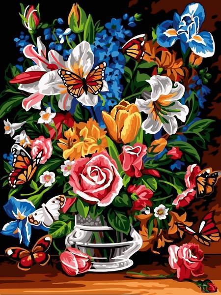 Фото Картины на холсте по номерам, Романтические картины. Люди VK 248 Букет и бабочки Картина по номерам на холсте 40x30см
