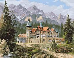 Фото Картины на холсте по номерам, Загородный дом VP 149 Замок спящей красавицы Картина по номерам на холсте 40х50см