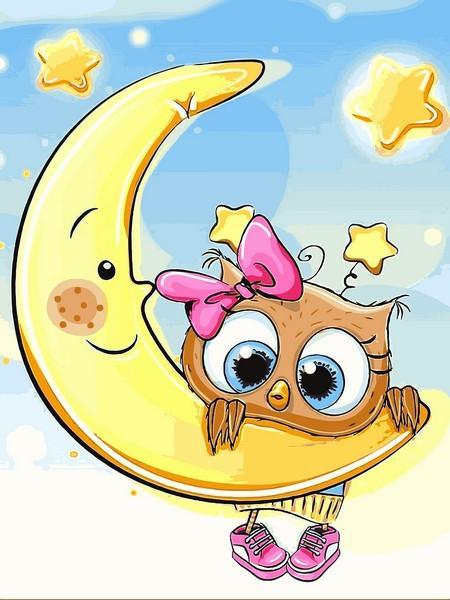 Фото Картины на холсте по номерам, Картины-раскраски по номерам (детские) VK 227 Совёнок на луне Роспись по номерам на холсте 40x30см