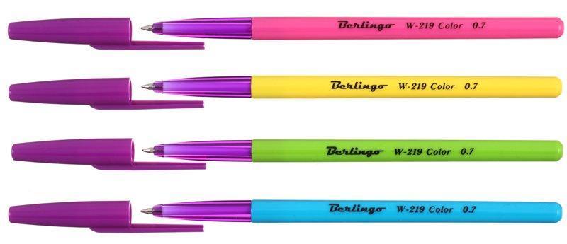 Ручка шариковая W-219 корпус ассорти, стержень синий
