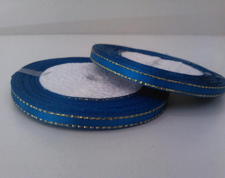 Фото Ленты, Лента атласная горох ,люрекс 0.6мм-12мм Лента атласная 0,6 см.  Синяя с золотым люрексом.  Бобина 22,8 метра.