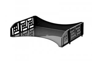 Фото Канцелярские товары (ЦЕНЫ БЕЗ НДС), Лотки для бумаг Лоток вертикальный inФОРМАТ ширина 70 мм, черный и прозрачно-дымчатый