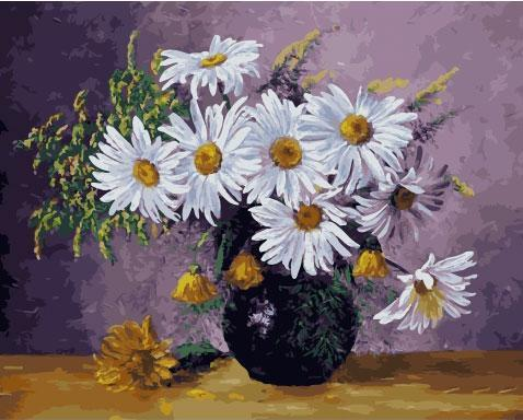 Фото Картины на холсте по номерам, Букеты, Цветы, Натюрморты KGX 33279 Ромашки Картина по номерам на холсте 40х50см