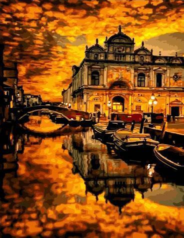 Фото Картины на холсте по номерам, Городской пейзаж KGX 34401 Золотой закат Картина по номерам на холсте 40х50см
