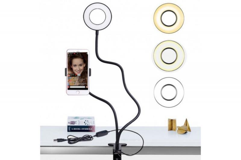 Держатель для телефона (селфи) на прищепке с подсветкой Professional Live Stream
