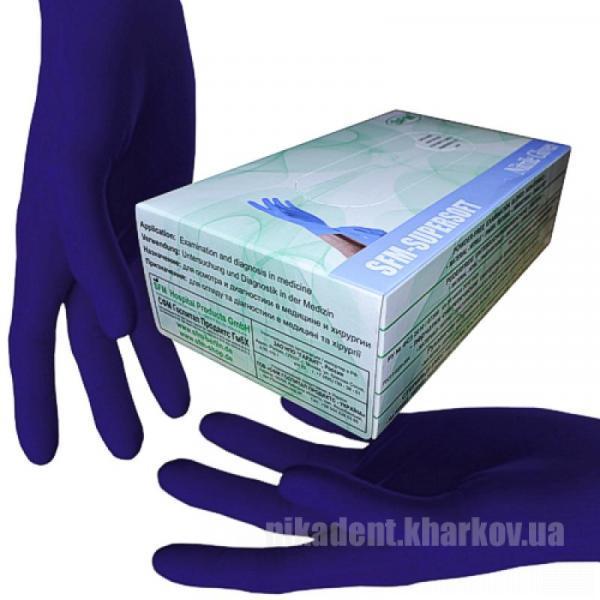 Фото Для стоматологических клиник, Расходные материалы Перчатки SFM (XS; S) нитриловые, смотровые, SuperSoft  не стерильные (3.5 г / 50 пар)