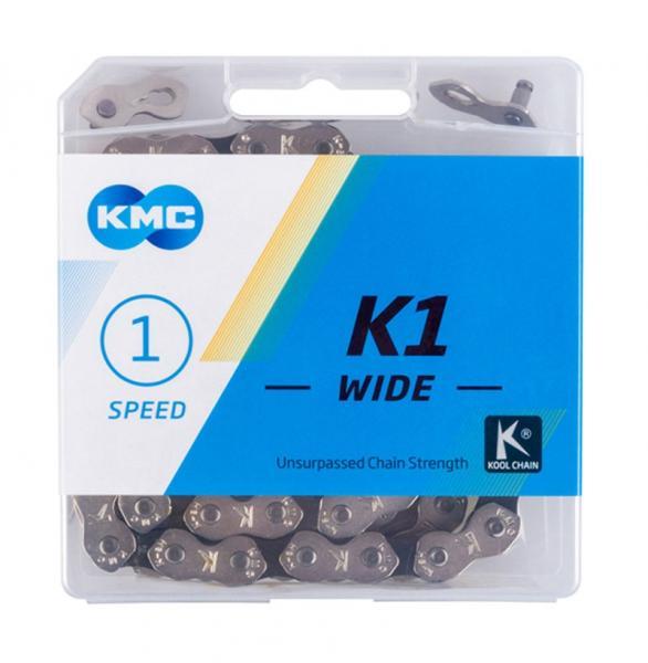 Ланцюг KMC K1-W Single-speed 112 ланок срібний/срібний + замок