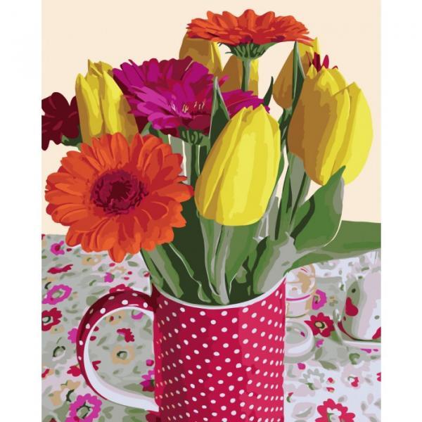 Фото Картины на холсте по номерам, Картины  в пакете (без коробки) 50х40см; 40х40см; 40х30см, Цветы, букеты, натюрморты KHO 2071