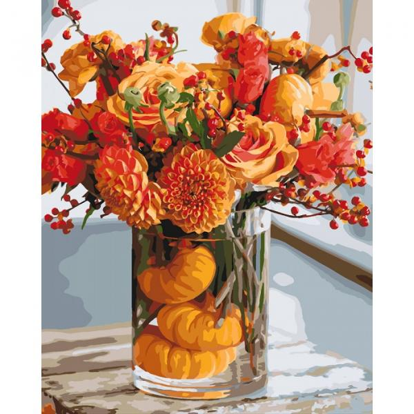 Фото Картины на холсте по номерам, Букеты, Цветы, Натюрморты KH 3063 Осенняя гармония Роспись по номерам на холсте 40х50см