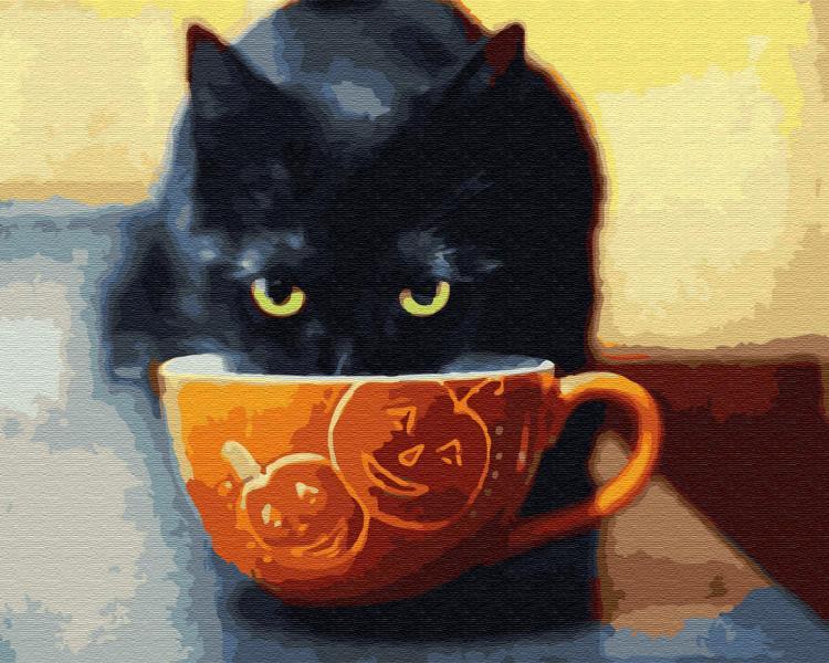 Фото Картины на холсте по номерам, Картины  в пакете (без коробки) 50х40см; 40х40см; 40х30см, Животные, птицы, рыбы GX30207 Счастливый котик Роспись по номерам на холсте 40х50см без коробки
