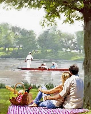 Фото Наборы для вышивания, Вышивка крестом с нанесенной схемой на конву, Пейзаж VP770 Пикник на берегу реки