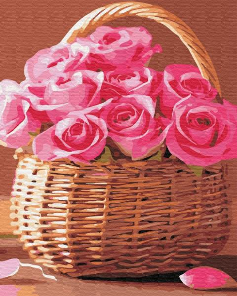 Фото Картины на холсте по номерам, Картины  в пакете (без коробки) 50х40см; 40х40см; 40х30см, Цветы, букеты, натюрморты GX34808  Корзинка розовых роз   Роспись по номерам на холсте 40х50см  без коробки