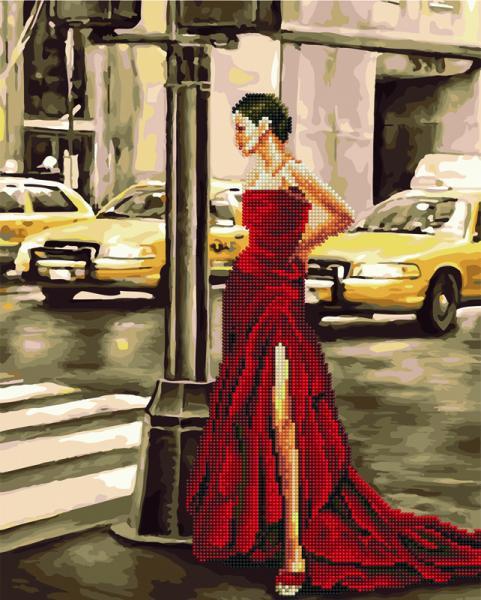 Фото  GZS 1083 Дама в красном Алмазная картина-раскраска (смешанная техника)
