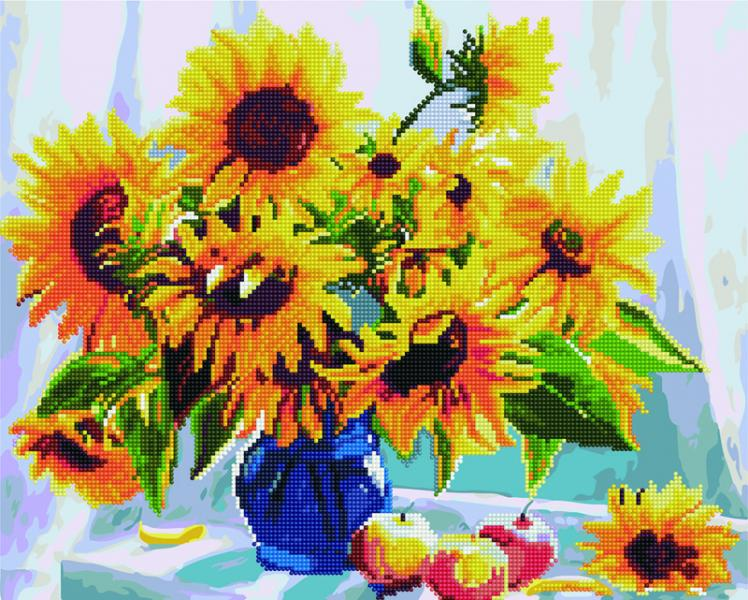 Фото  GZS 1088 Подсолнухи в вазе Алмазная картина-раскраска (смешанная техника)