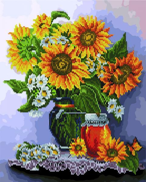 Фото  GZS 1108 Подсолнухи и мед Алмазная картина-раскраска (смешанная техника)