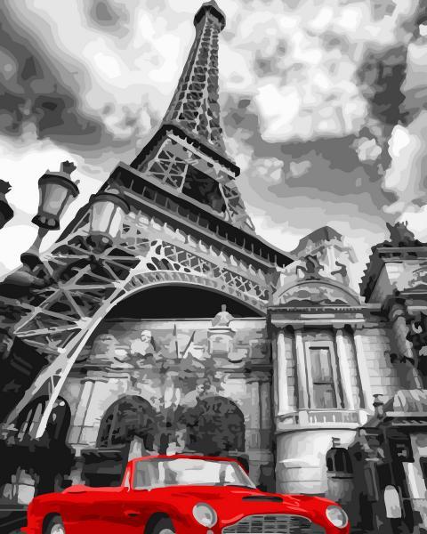 Фото Картины на холсте по номерам, Городской пейзаж GX 32129 Красный ретро-автомобиль Картина по номерам на холсте 40х50см без коробки, в пакете