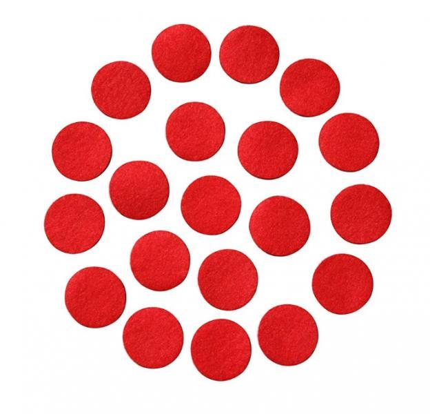 Фото Фетр и фетровые кружочки Фетровые  кружочки  3 см.  Красного  цвета.  Упаковка  50 шт.