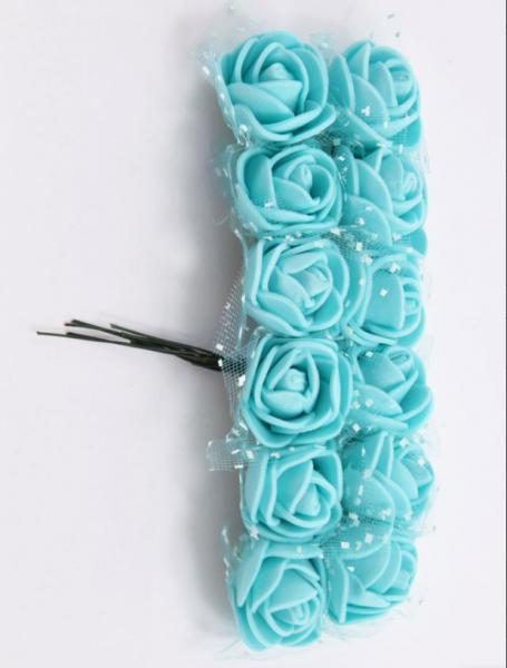 Фото Цветы искусственные, Розочки  латексные  в  ассортименте.  Роза латексная 2 - 2,2 см ,  Бирюзово- мятного цвета  с  фатином.  Упаковка 12 цветочков .