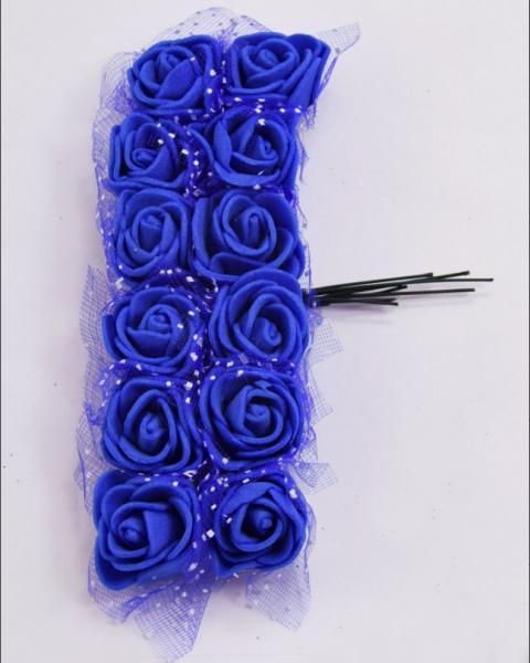 Фото Цветы искусственные Роза  латексная  2 -  2,2 см ,  Синего  цвета   с  фатином.,  упаковка  12 розочек.