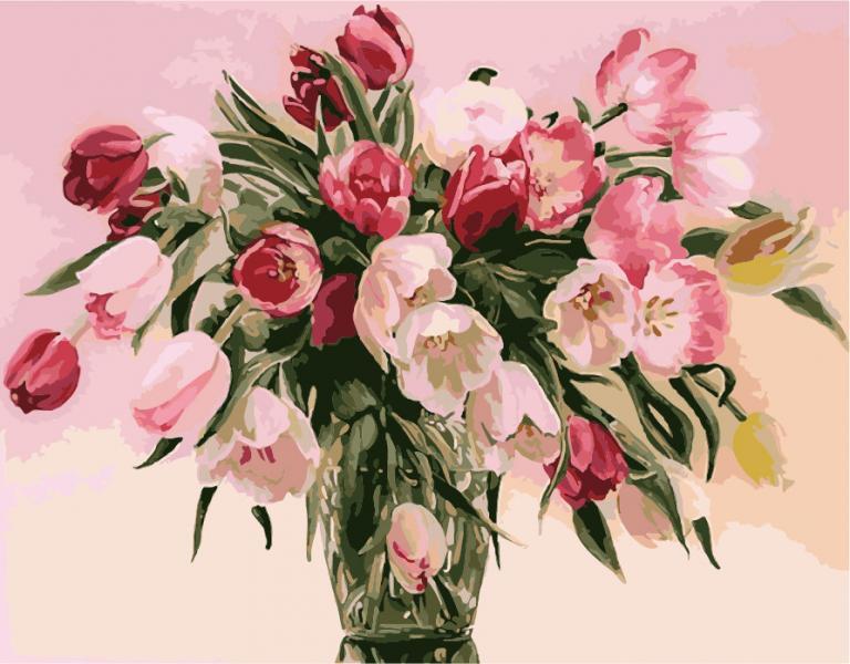 Фото Картины на холсте по номерам, Картины  в пакете (без коробки) 50х40см; 40х40см; 40х30см, Цветы, букеты, натюрморты KHO 1072