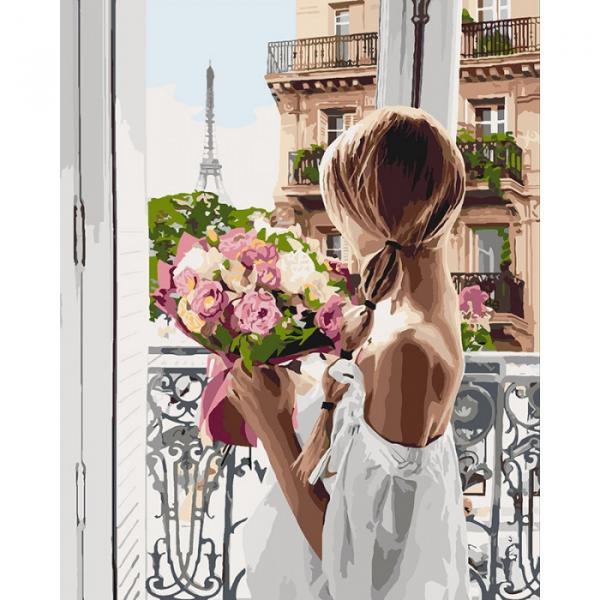 Фото Картины на холсте по номерам, Романтические картины. Люди KH 4567 Из Парижа с любовью Роспись по номерам на холсте 50х40см