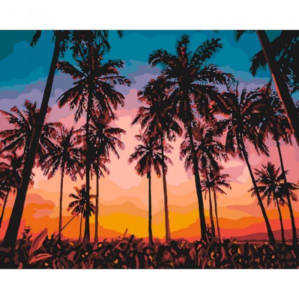 Фото Картины на холсте по номерам, Картины  в пакете (без коробки) 50х40см; 40х40см; 40х30см, Пейзаж, морской пейзаж. KHO  2257 Экзотический вечер Роспись по номерам на холсте (без коробки) 50х40см