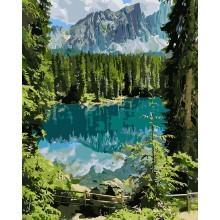 Фото Картины на холсте по номерам, Картины  в пакете (без коробки) 50х40см; 40х40см; 40х30см, Пейзаж, морской пейзаж. KHO 2270 Загадочное озеро Картина по номерам на холсте (без коробки) 40х50см