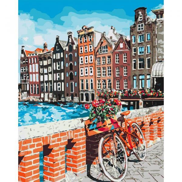 Фото Картины на холсте по номерам, Городской пейзаж KHO 3554 Каникулы в Амстердаме Роспись по номерам на холсте (без коробки) 50х40см