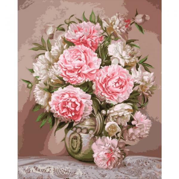 Фото Картины на холсте по номерам, Букеты, Цветы, Натюрморты KH 2065 Аромат пионов Картина по номерам на холсте 40х50см