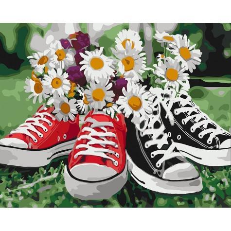 Фото Картины на холсте по номерам, Букеты, Цветы, Натюрморты KH 3073 Необычное сочетание Картина по номерам на холсте40х50см