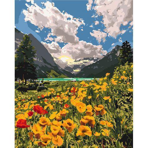 Фото Картины на холсте по номерам, Картины  в пакете (без коробки) 50х40см; 40х40см; 40х30см, Пейзаж, морской пейзаж. KHO 2268 Величественные Альпы Картина по номерам на холсте (без коробки) 40х50см