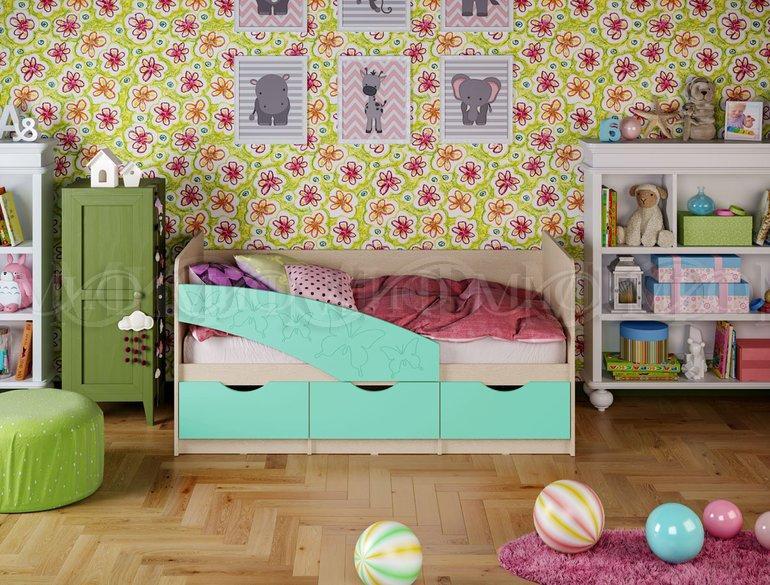 Фото Детская мебель Детские кровати Бабочки матовый 1,8м (Миф)