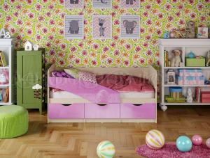 Детские кровати Бабочки металлик 1,8м (Миф)