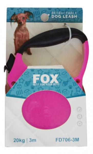 """Поводок-рулетка ТМ"""" FOX"""" розовый,лента(3м*20кг)"""
