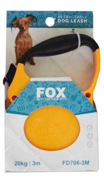 "Поводок-рулетка ТМ"" FOX"" желтый,лента(3м*20кг)"