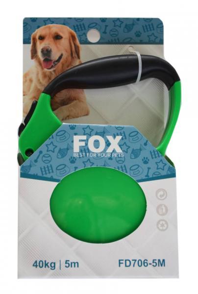 """Поводок-рулетка ТМ"""" FOX"""" зеленый,лента(5м*25кг)"""