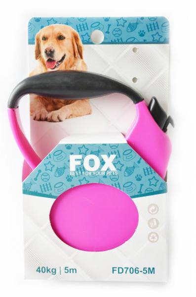"""Поводок-рулетка ТМ"""" FOX"""" розовый,лента(5м*25кг)"""
