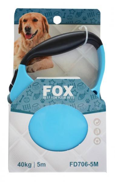 Поводок-рулетка FOX синий,лента (5мх25кг)
