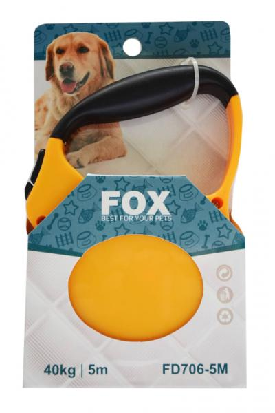 "Поводок-рулетка ТМ"" FOX"" желтый,лента(5м*25кг)"