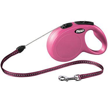 FLEXI NEW CLASSIC S Поводок-рулетка для мелких собак, 8м (трос), до 12 кг, розовый